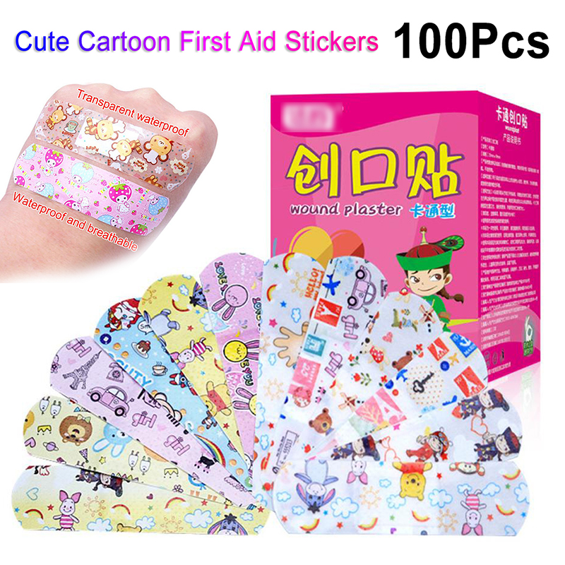 100Pcs Cute Cartoon Band Aid Waterproof Breathable Hemostasis Adhesive Bandages Security First Aid Stickers For Kids Children