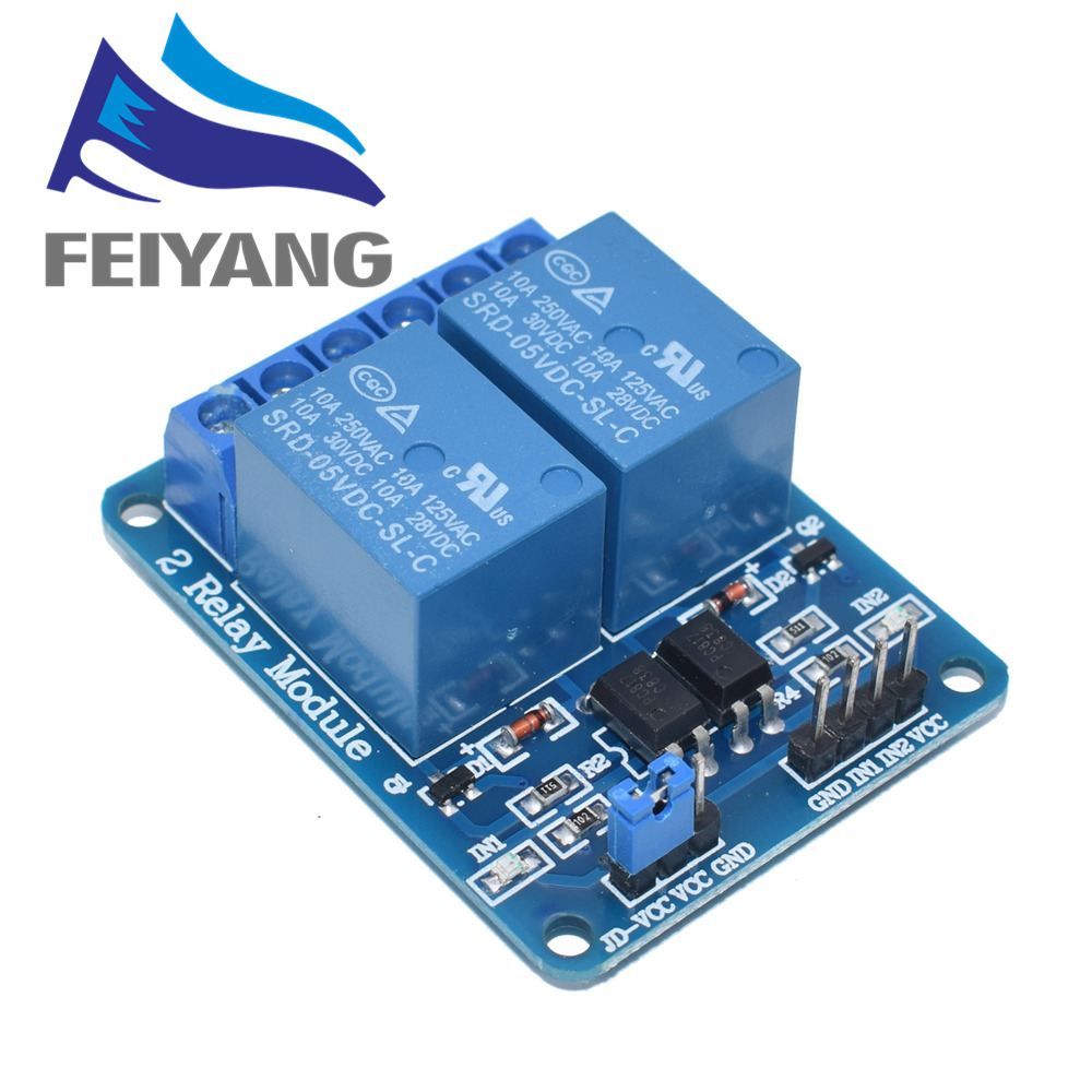 10pcs 2-channel New 2 channel relay module relay expansion board 5V low level triggered 2-way relay module