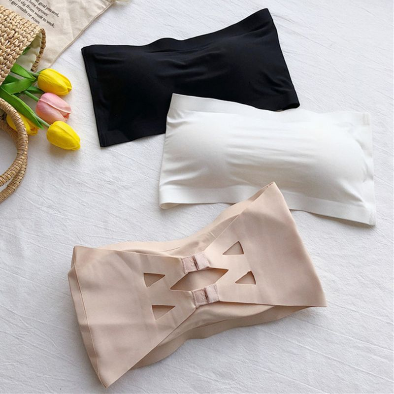 Women Ice Silk Seamless Solid Tube Tops Strapless Removable Padded Bandeau Hollow Cross Back Hook Eye Wrapped Chest Bralette
