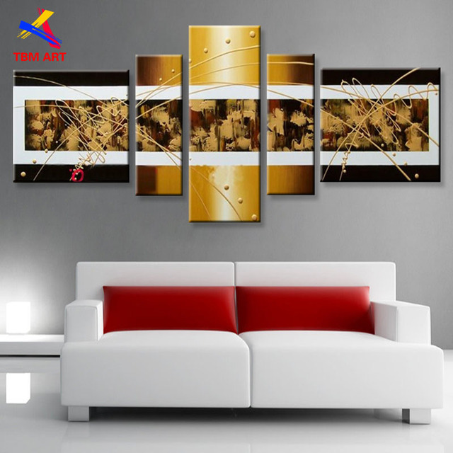 TBM ART Golden Color Hand painted Modern Abstract Oil Painting on Canvas Wall Art Gift for Living Room Decoration No Frame ,Z073