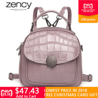 Zency 100% Real Cow Leather Women Backpack Stone Pattern Girl's Schoolbags Fashion Female Solid Travel Bags Charm Pink Knapsack