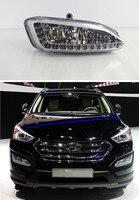 Waterproof ABS Cover 12V Car DRL LED Daytime Running Light Fog Lamp For Hyundai Santa Fe IX45 2013 2014 2015