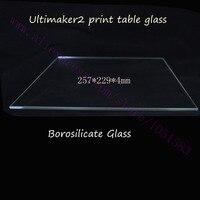 מדפסת 3D Ultimaker 2 אמיתי צלחת זכוכית צלחת זכוכית ורוסיליקט מיטה שולחן הדפסה 257x229x4 מ