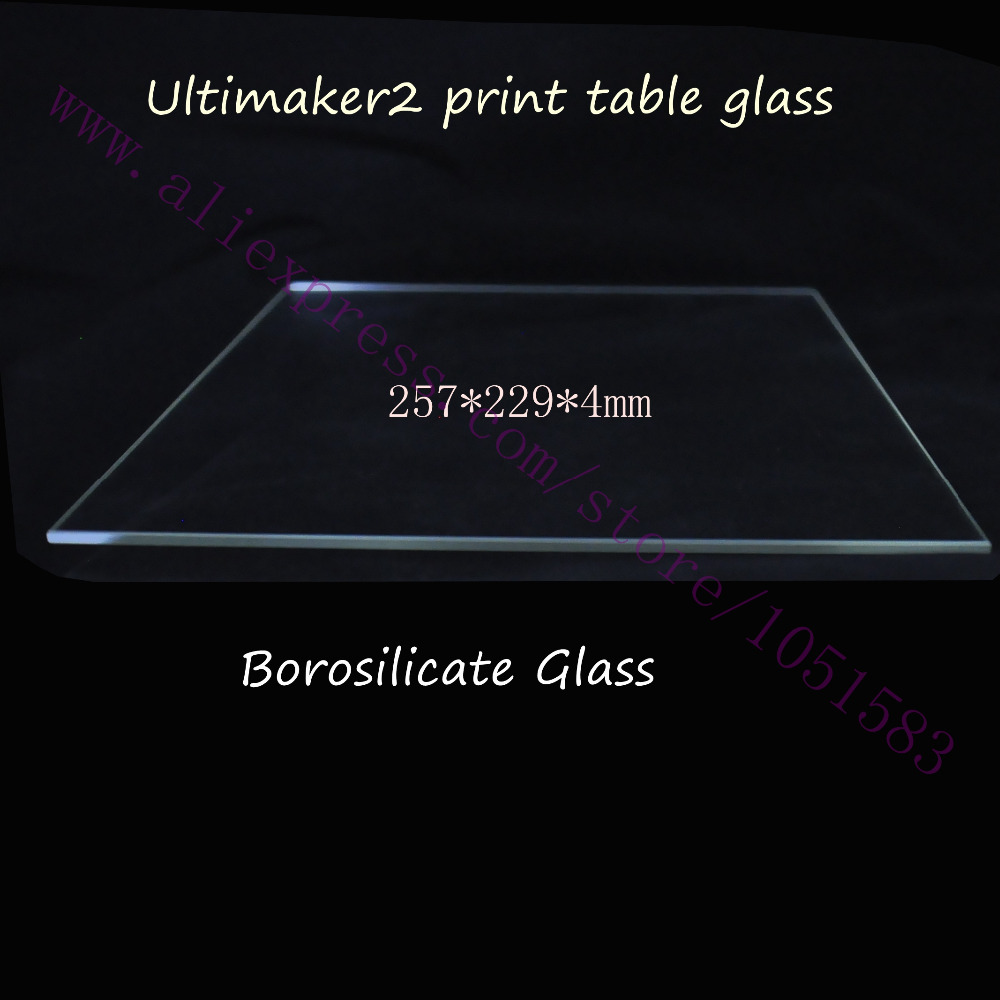 3D Printer Ultimaker 2 Print Table Glass plate Real Borosilicate Glass Bed Plate 257x229x4mm for Ultimaker2