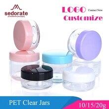 Sedorate 50 шт./лот, высококачественные пластиковые мини банки 10 г 15 г 20 г PS пустые круглые банки для крема, тени для век, контейнеры для макияжа ZM015