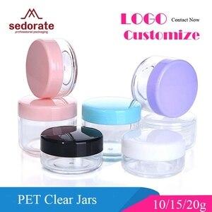 Image 1 - Sedorate 50 шт./лот, высококачественные пластиковые мини банки 10 г 15 г 20 г PS пустые круглые банки для крема, тени для век, контейнеры для макияжа ZM015