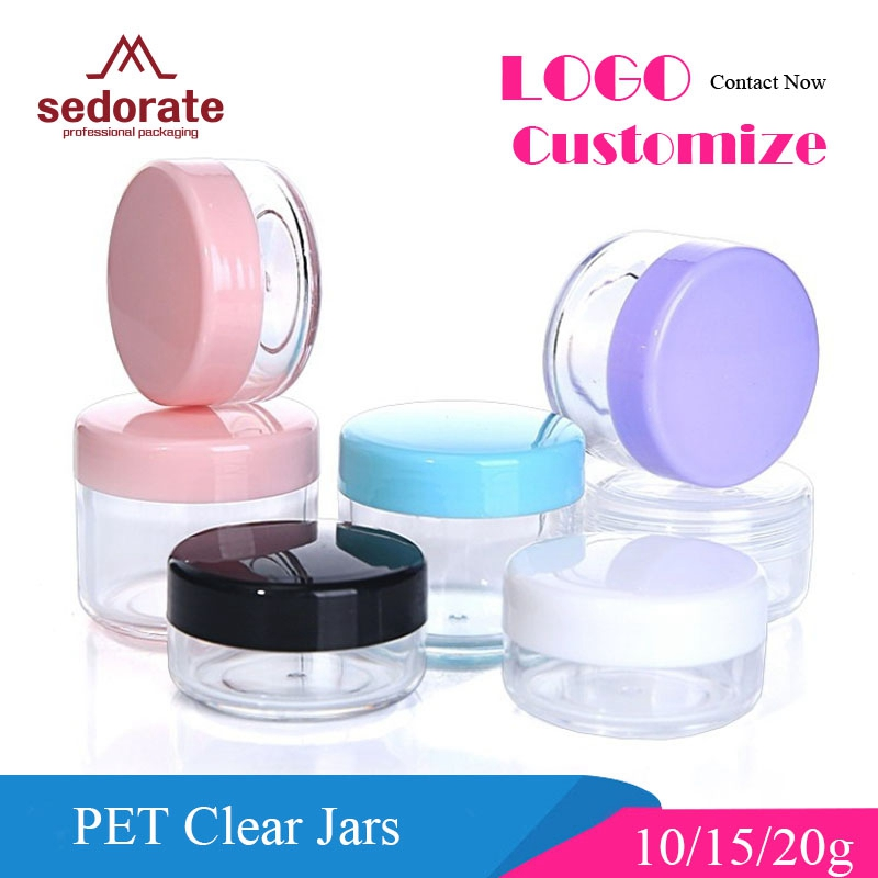 Sedorate 50 pcs/Lot High Quality Plastic Mini Jars 10g 15g 20g PS Empty Cream Round Jars Eyeshadow Containers For Makeup ZM015