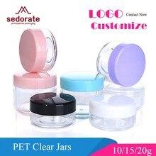 Sedorate mini frascos de plástico, pçs/lote de alta qualidade, 10g, 15g, 20g, frasco de sombra recipientes para maquiagem z2.015