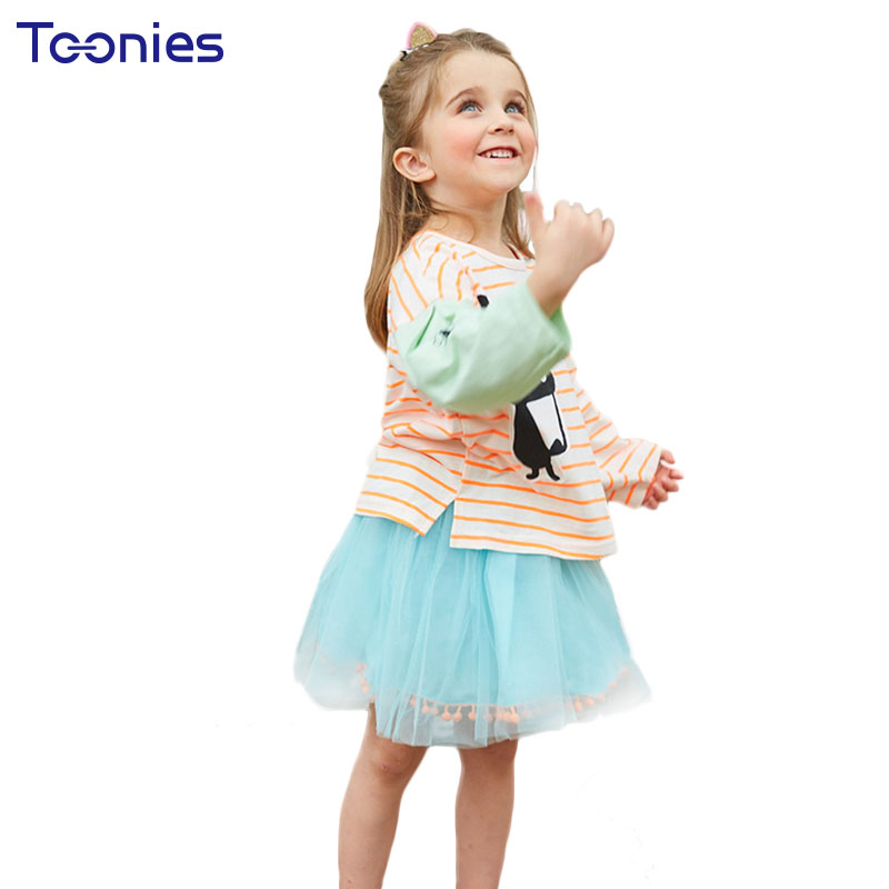 2018 Spring Autumn Girl Clothes Child Skirts Suits Cute Cartoon Striped Girls Clothing Set Long Sleeved Kids School Uniform Suit