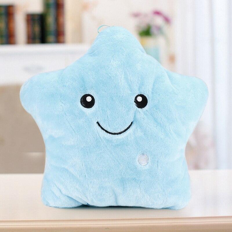 Красочный светодиодные Синий Свет Звезды Световой подушки рождественские игрушки плюшевые подарок Home Decor Новая девушка