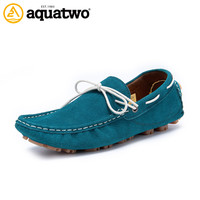 Sale Cheap 2017 New AQUA TWO Shoes For Men Suede Leather Solid Slip On Loafers Men US6.5-10# Zapatos Hombre Casual Shoes 2017