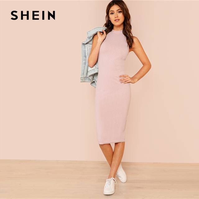 SHEIN Pink Mock Neck Rib Knit Plain Pencil Dress Women Stand Collar Sleeveless Slim Dress 2018 Elegant Going Out Bodycon Dress 2