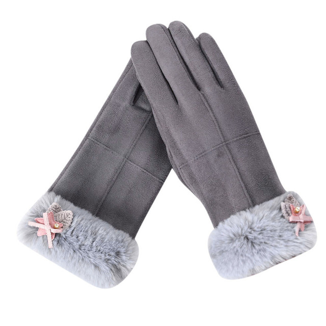 Hot sale Womens Sport Gloves casual Outdoor qualities Fur Warm cold Full Finger Hand Fashion Winter Solid warmth gloved 9.5