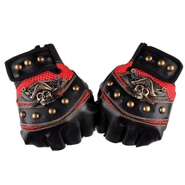 Leather Skull Biker Gloves  2