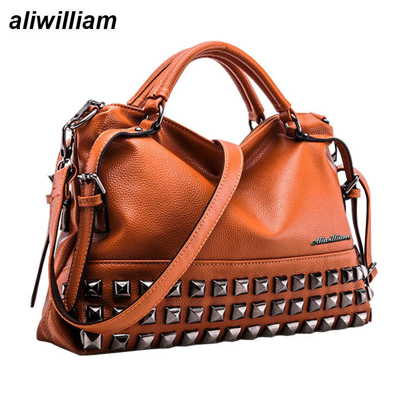 Rivet Women Leather Handbags Vintage Woman Bags Bag Handbag ...