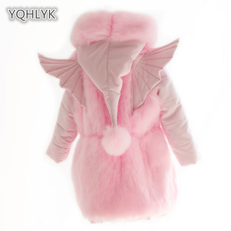 купить Children Winter Girl Cotton coat Faux Fox Fur Hooded Warm Girl Jacket Girl Princess Wings Long kids Parker Outerwear & Coats по цене 2571.67 рублей