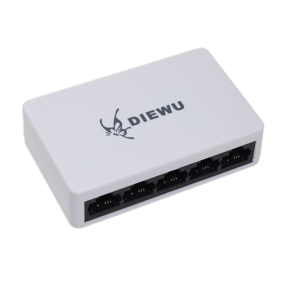 10/100Mbps 5 Port Fast Ethernet LAN RJ45 Network Switch Hub Desktop Unmanaged Ethernet Splitter Plug And Play