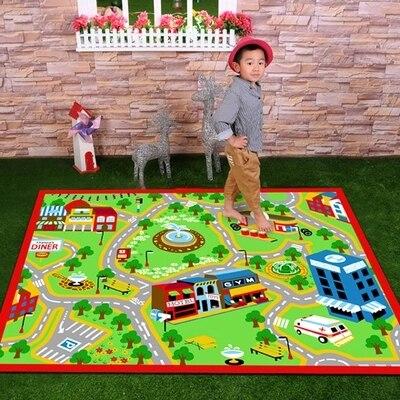 WINLIFE Designer Piste Enfants Tapis, express il dans le Dessin Animé Enfants Tapis, le Tapis de ville verte 150 cm * 200 cm