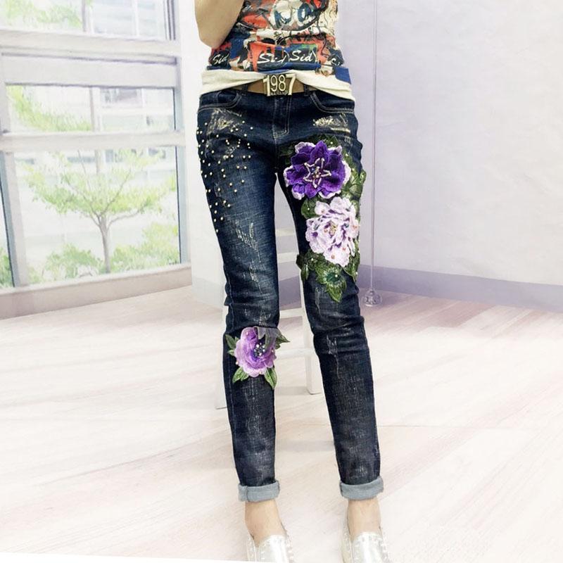 Européenne Mode Jeans Femme Printemps Automne Nouveau Personnel Perle Fleur Embrroidery Haute-taille Élastique pantalon denim grande taille De Base