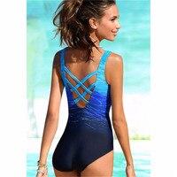 One Piece Swimsuit 2019 New Plus Size Swimwear Women Print Solid Swimwear Vintage Retro Bathing Suits Monokini Swimsuit