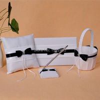 Set of 4p White and Black Bowknot Crystal Wedding Guest Book Pen Holder Ring Pillow Basket Set Wedding Favors WS06