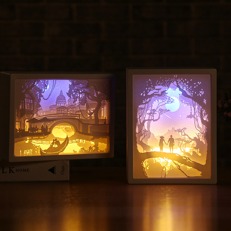 Novelty 3D Shadow Paper LED Carving Lamp Creative Gifts Decoration For Halloween Christmas Party Holiday Atmosphere Lighting