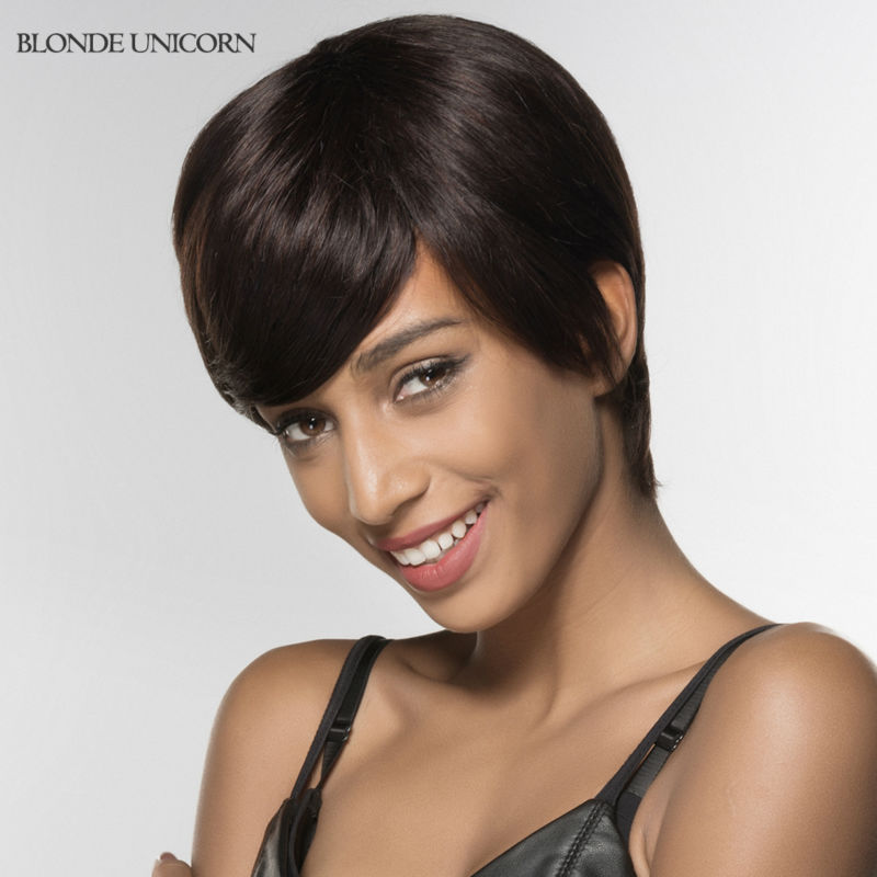 Blonde Unicorn Glueless Full Lace Human Hair Wigs For Black Women Short Human Hair Straight Wigs 100% Hand Tied Wigs With Bang