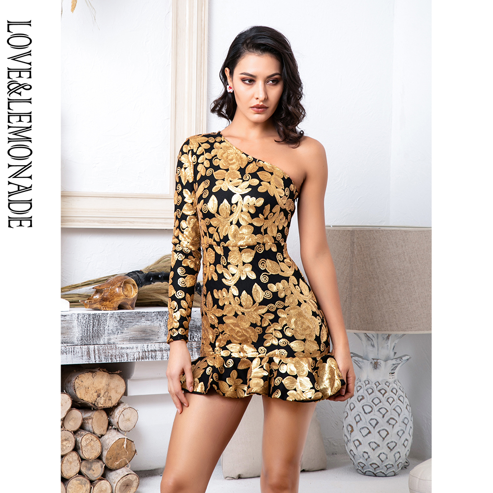 Love&Lemonade Gold Sequins Party Dress LM81685