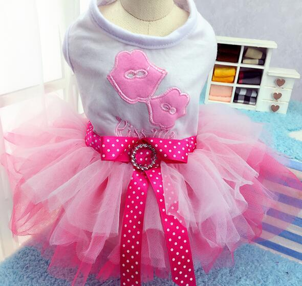 New summer style pet dog cat lovely dress doggy fashion bowknot lace tutu dresses puppy party dresses costume XS S M L XL XXL