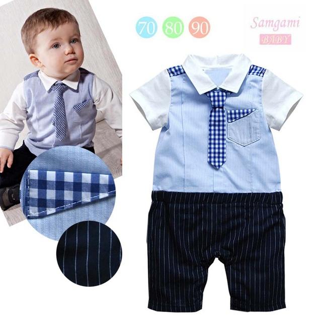 Lindo Gentleman lazo azul del cuerpo del bebé mameluco Fantasia Infantil Jumper generales recién nacidos niños ropa Bebe ropa ropa de niños