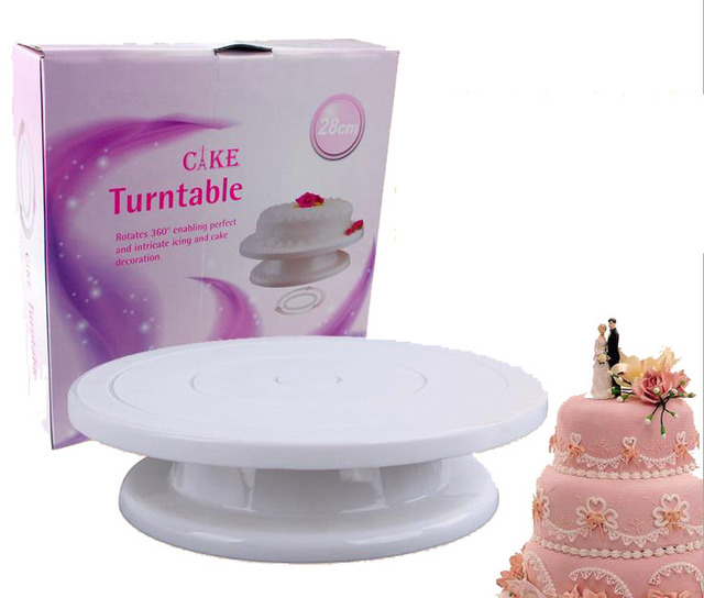 28cm Cake Decorating Turntable Food Grade Material Rotating Revolving Icing 10 Inch Cake Stand Kitchen Display Baking Tools