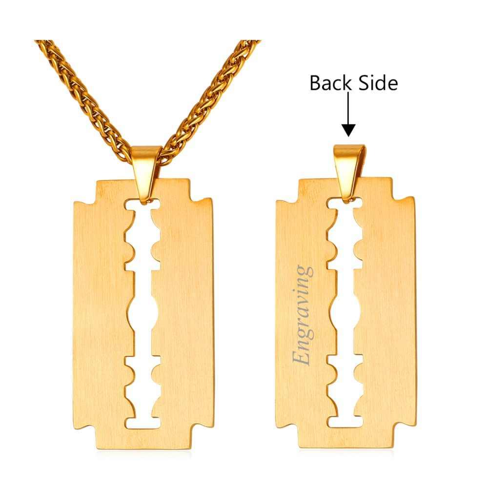 U7 żyletka naszyjnik i wisiorek mogą być grawerowane prezent dla ojca złoty kolor 316L łańcuch ze stali nierdzewnej dla mężczyzn biżuteria P1008