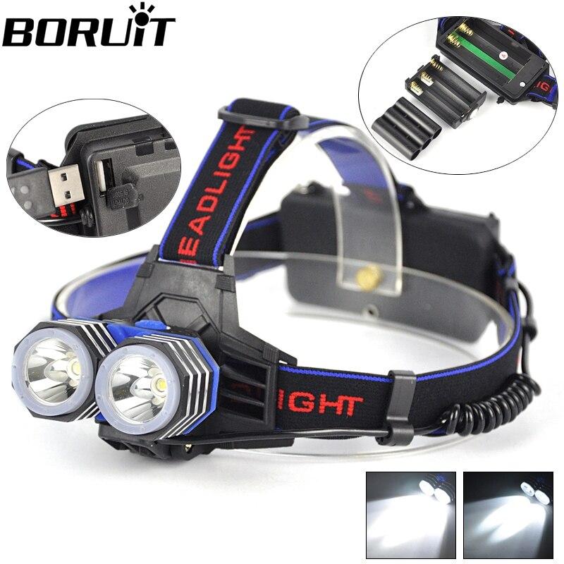 Headlight 5000 Lumens 2x XM L T6 LED Headlamp Head Lamp Light 2 T6 Outdoor Lanterna