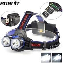 Headlight 5000 Lumens 2x XM-L T6 LED Headlamp Head Lamp Light 2 T6 Outdoor Lanterna frontal led USB By 1*18650 /3*AA/3*AAA