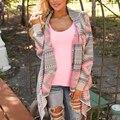 Chic Ladies Women's Irregular Cardigan Coat Geometric Print Long Sleeve Tops B75 Hot