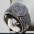 2016 Новые Моды для Женщин, Ювелирные Изделия Стерлингового Серебра 925 Топаз Имитация Алмазный Gem Обручальное Кольцо для Рождественский Подарок Размер 5-11