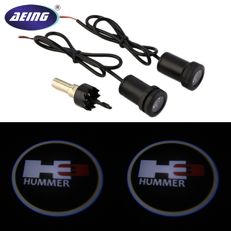 AEING 2pcs For Hummer H3 Ghost Shadow Logo welcome Car White LED Door Light Laser Courtesy Slide Projector logo Emblem light 1 pair auto brand emblem logo led lamp laser shadow car door welcome step projector shadow ghost light for audi vw chevys honda page 1