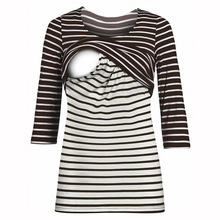 Buy Pregnancy Nursing Tops Three Quarter Sleeves Maternity Clothes Breastfeeding Tops Striped T-shirt for Pregnant Women B0018 directly from merchant!