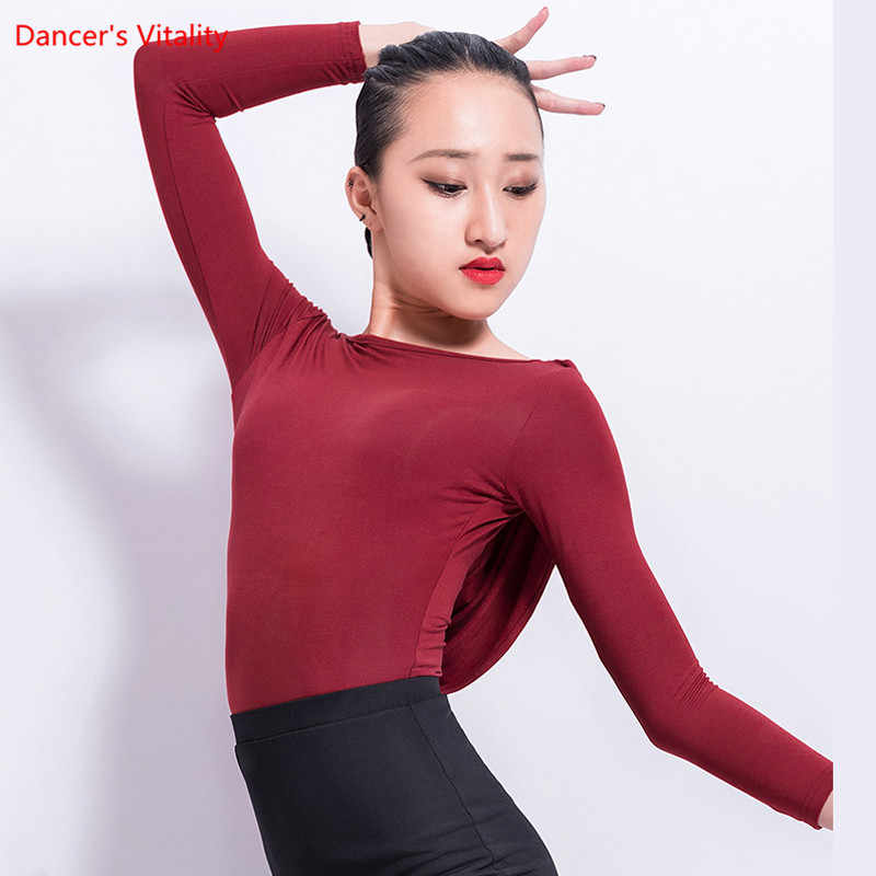 9eaf0ec97c 2018 New Women Latin Dance Tops Sexy Backless Long Sleeves Practice Costume  Adult Ballroom Waltz Tango