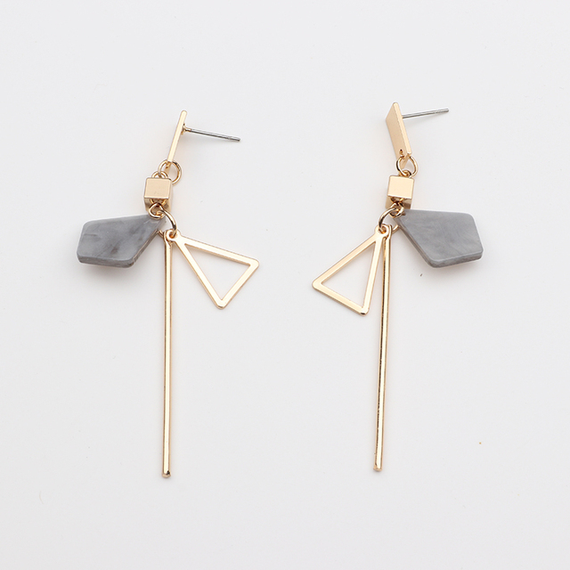 2018 Simple Temperament Geometry Drop Earrings Hollow Triangle Alloy Strip Dangl