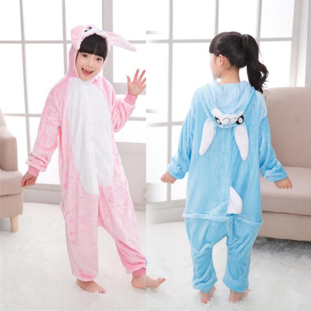 Furry Bunny Costume Kids Animal Onesies Pink Rabbit Fancy Animal Costume Jumpsuit Pajama ...