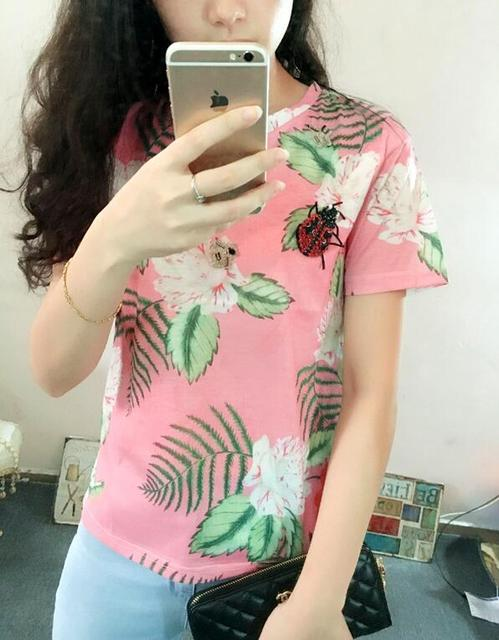 2016 spring and summer in Europe and America geranium pink flower print Bee ladybug beaded loose short-sleeved shirt