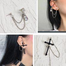 Punk Style Cross Long Chain Drop Earrings Personalized Tassels Pendant Earrings For Women Men Party Gift Jewelry цена 2017