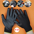 12 Pairs New Work Safety Gloves Nylon Knitted Gloves With PU Coated For Gardener Builder Driver Mechanic Protective Gloves