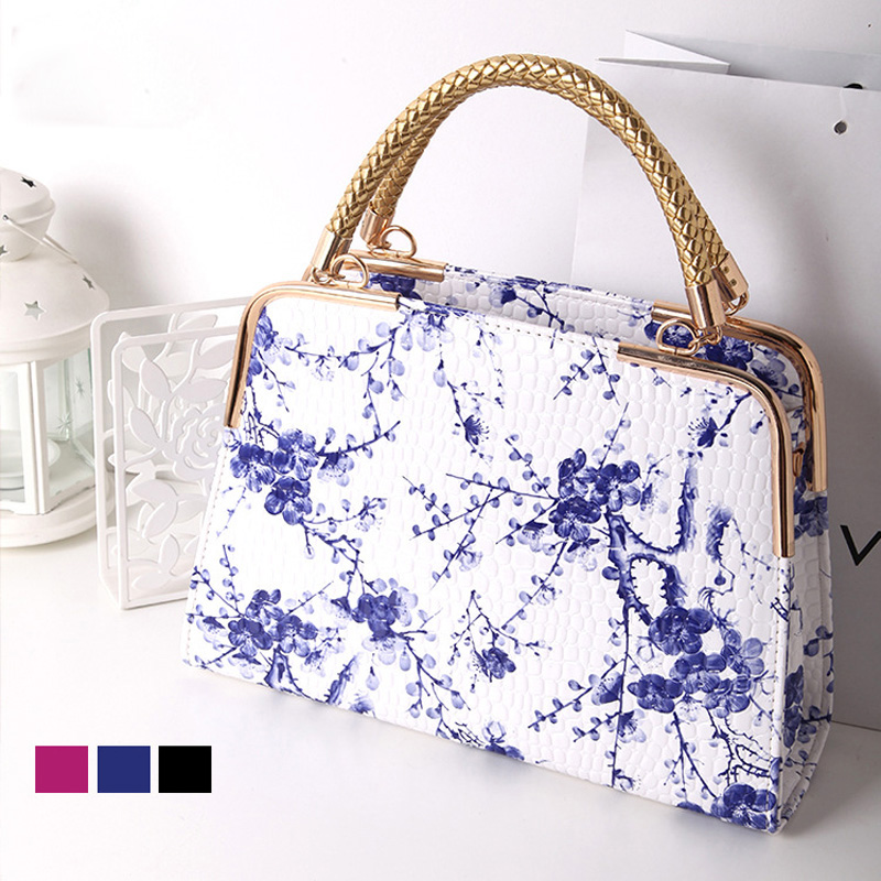 2016 Fashion Chinese Style Female Bag Floral Women Shoulder Bag Patent Leather  Handbag with Floral Printed 47b5f74624dae