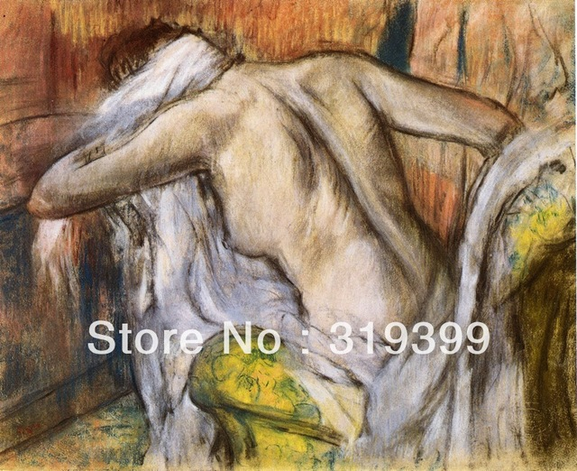 Oil Painting Reproduction On Linen CanvasAfter Bathing Woman Dry Herself By Edgar Dega