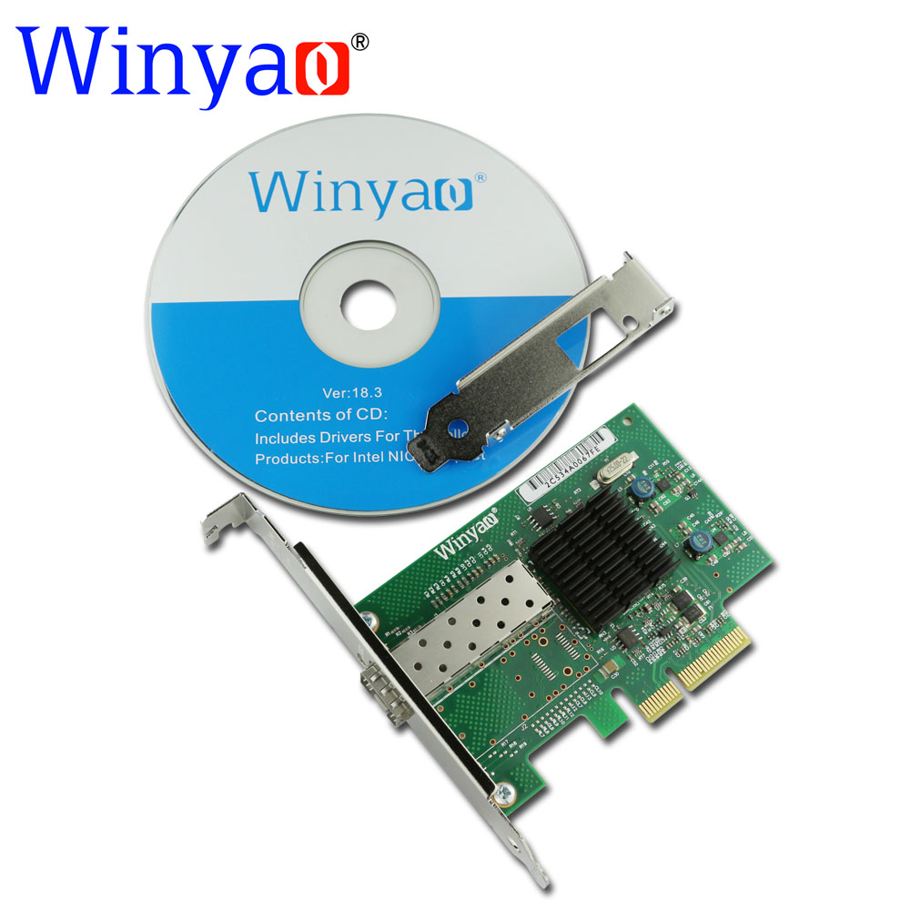 Winyao WY576F1-SFP PCI-Express 2.0 x4 SFP Fiber Gigabit Ethernet Network Adapter(NIC) PRO/1000 82576 E1G42EF 1000M lan winyao usb1000f sx usb3 0 gigabit fiber ethernet network adapter 850nm multi mode optical transceiver module sfp nic 550m