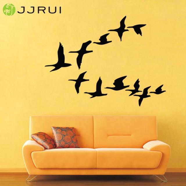 JJRUI Flying Bird Flock Wall Decor Living Room Tree Bird Decal ...