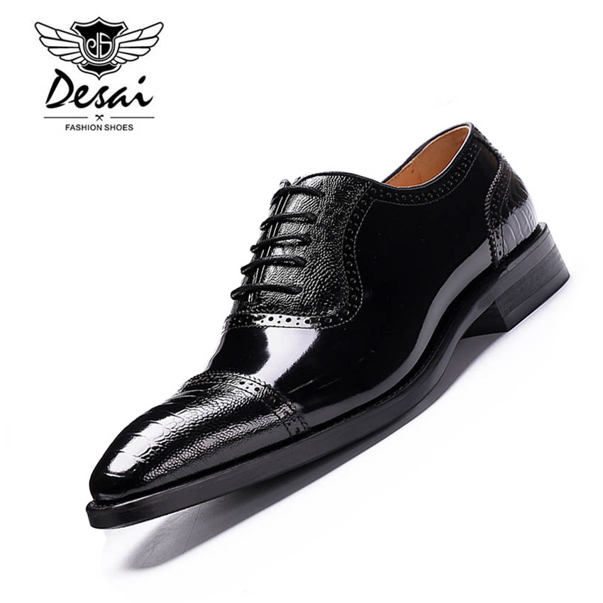 DESAI High Quality Men Oxfords Shoes British Style Carved Genuine Leather Shoe Black Brogue Shoes Lace-Up Business Dress Shoes men business formal dress shoes oxfords men leather shoes lace up british style genuine leather brogue shoes classic fashion