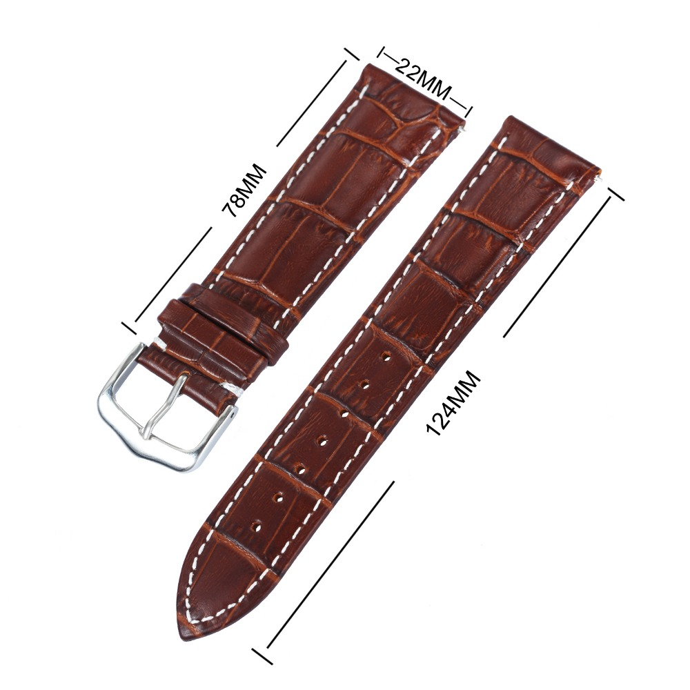 Fashion Men <font><b>Women</b></font> <font><b>Watch</b></font> Genuine Leather Strap Quick-release Spring Bars Tool Free Replacement Wristwatch <font><b>Band</b></font> Width <font><b>20mm</b></font> 22mm image